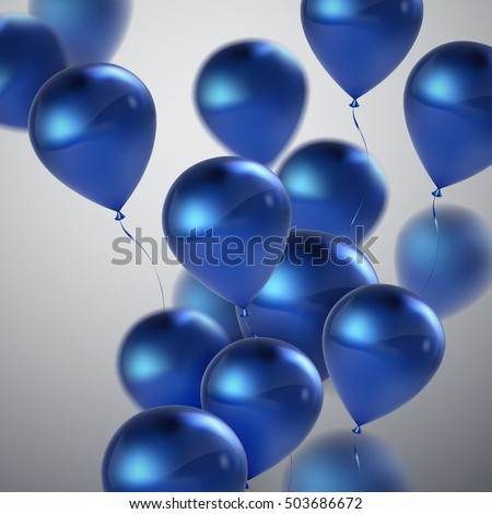 Vector festive illustration of flying realistic glossy balloons. Blue balloon bunch. Decoration element for design