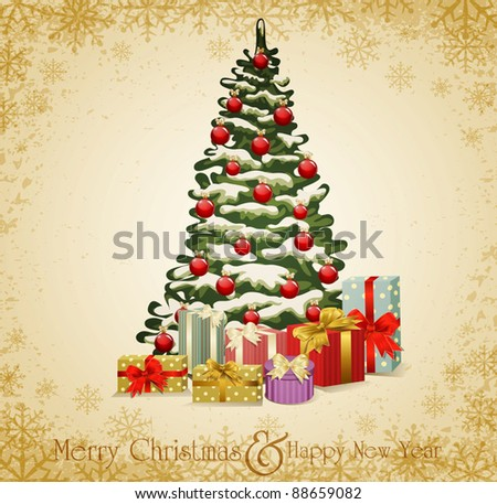 Beautiful Decorated Christmas Tree Present Boxes Stock Photo  - The Christmas Tree