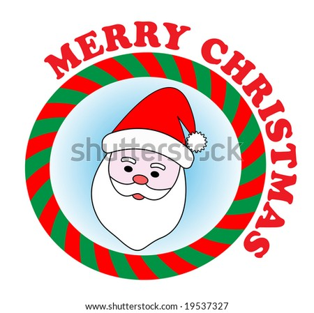 Vector festive sticker with Santa Claus and Merry Christmas text - stock vector