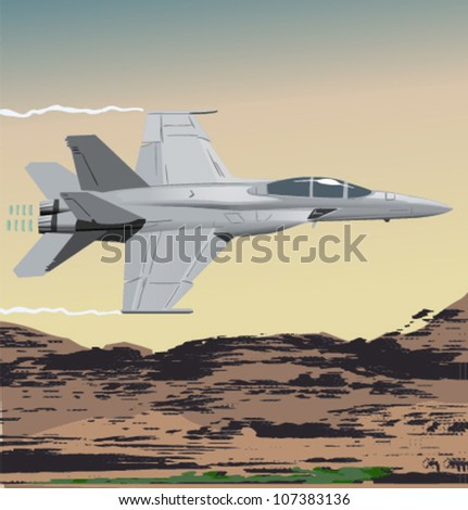 Vector fighter jet over the desert - stock vector