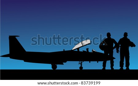 Vector fighter on home - stock vector