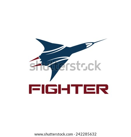 vector fighter plane - stock vector