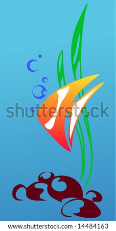 Vector figure of a fish and sea seaweed on blue background
