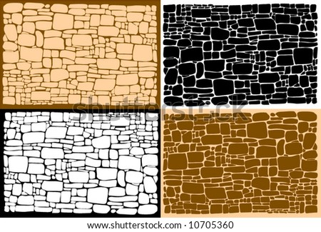 Vector figure of a stone wall and different background - stock vector