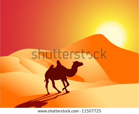 Vector figure of desert with a lonely camel - stock vector