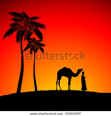 Vector figure of desert with a men and lonely camel - stock vector