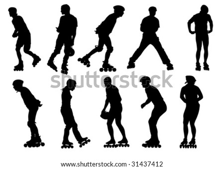 Vector figure skaters. Silhouettes on a white background