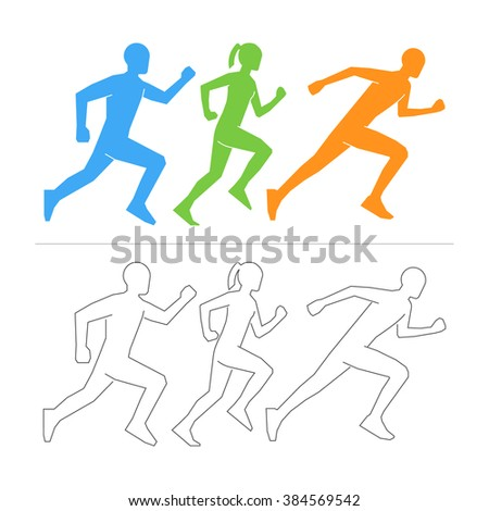 Vector figures athletes on a white background. Line running symbol. - stock vector