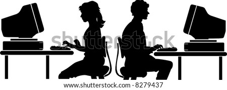 vector file computer worker silhouette - stock vector