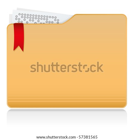 Vector file folder with documents and label - stock vector