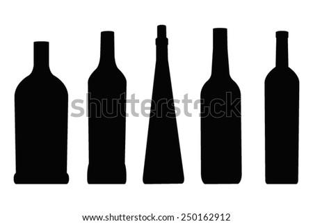 vector file of bottles silhouette - stock vector