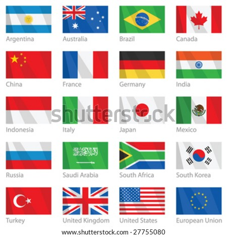 Vector file of waving G-20 flags. G-20 countries - major economies of the world. (G8) - stock vector