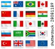Vector file of waving G-20 flags with border. G-20 countries - major economies of the world. (G8) - stock vector