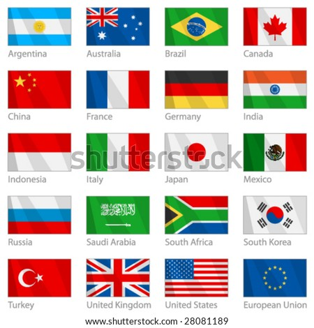 Vector file of waving G-20 flags with border. G-20 countries - major economies of the world. (G8)
