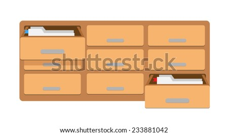 Vector Filing Cabinet with Folders - stock vector