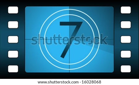 Vector film countdown. Number 7. - stock vector