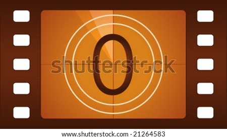 Vector film countdown. Number 0. - stock vector
