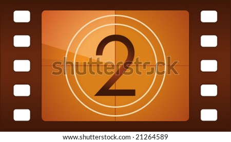Vector film countdown. Number 2. - stock vector