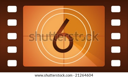 Vector film countdown. Number 6. - stock vector