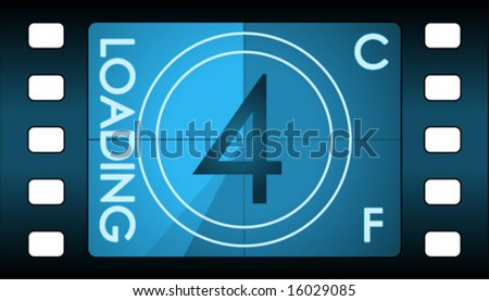 Vector film countdown. Number 4 alternative. - stock vector