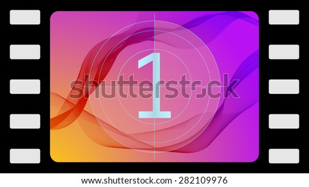 Vector film countdown on an abstract background. Frame 1 of 10. - stock vector