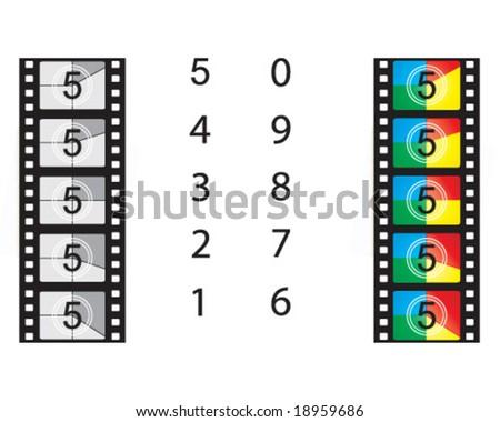 vector film countdown set - stock vector