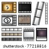 vector film strip set with elements for your design - stock vector