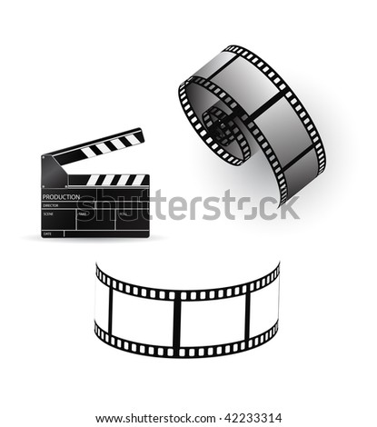 vector film strip with clapboard - stock vector