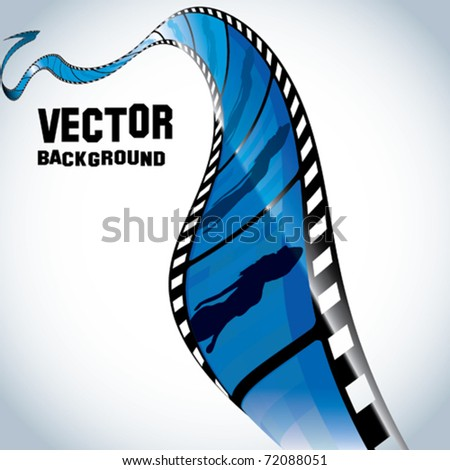 Vector Film Strip with Girl - stock vector