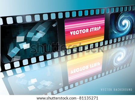 Vector Film Strip with picture and reflection - stock vector