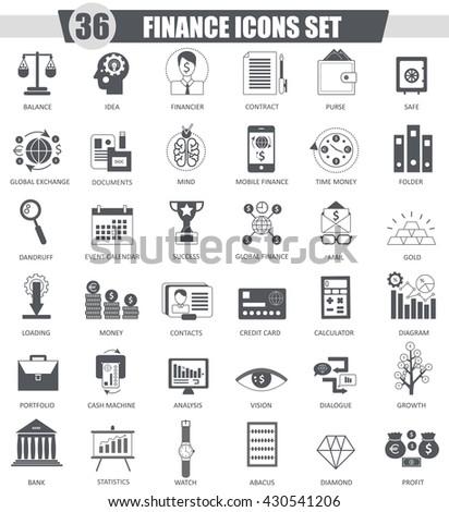 Vector Finance black icon set. Dark grey classic icon design for web. - stock vector