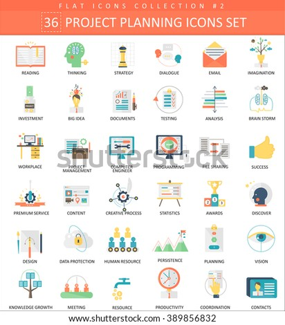 Vector Finance business project planning color flat icon set. Elegant style design. - stock vector