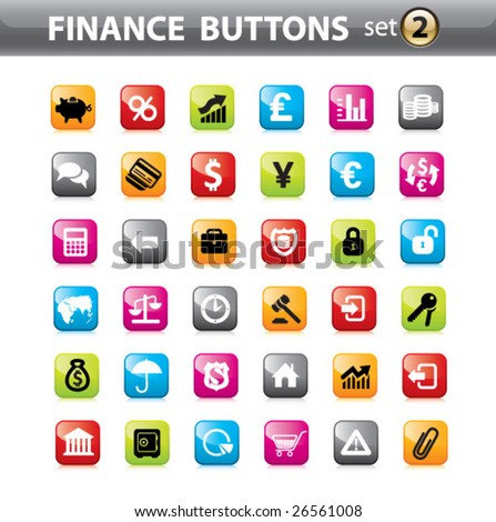 Vector. Finance buttons, web elements. - stock vector