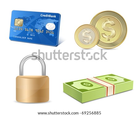 Vector finance icon set. Credit card, coins, banknotes, padlock. - stock vector