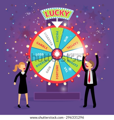 Vector financial wheel of fortune. Business concept. Chance and risk, gamble and profit, tax and gain, borrow and loss, disaster and capital - stock vector