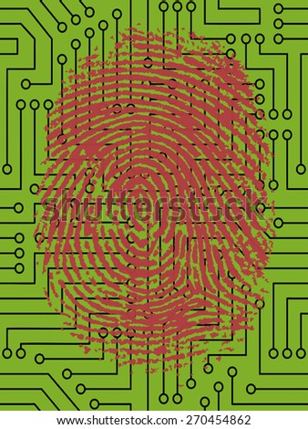 Vector Fingerprint pressed onto a Digital Circuit Board   - stock vector