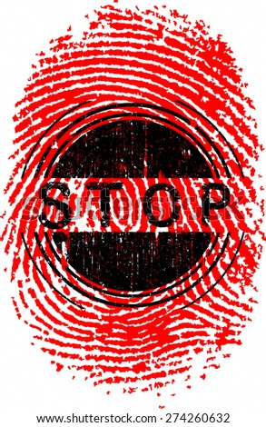 Vector Fingerprint with the word STOP overlaid - Very detailed Vector Fingerprint and hand designed text. - stock vector