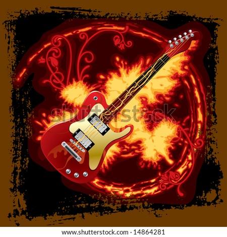 Vector fire electric guitar - stock vector
