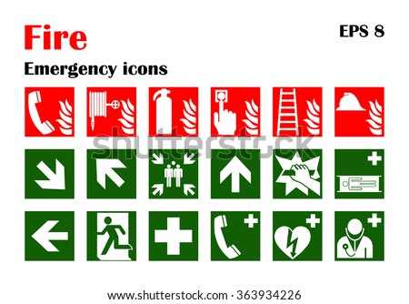 Vector fire emergency icons. Signs of evacuations. Set of firefighter warning evacuation emergency signs. It can be used for evacuation plans. Emergency symbol. - stock vector