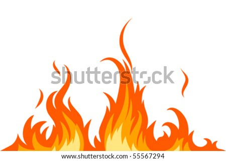 Vector fire on white - stock vector
