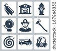 Vector fire station icons set: extinguisher, fire house, hydrant, alarm, fireman, axe, hose, fire truck, gas mask - stock vector
