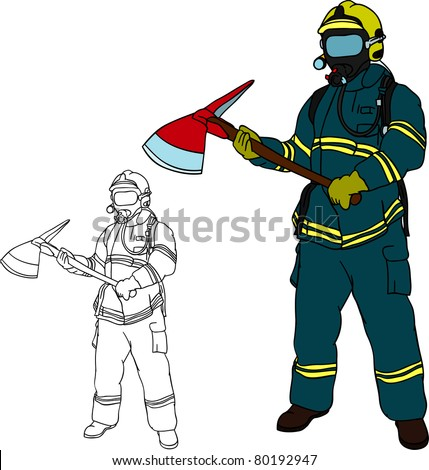 Stock vector vector firefighter with axe hand draw isolated on