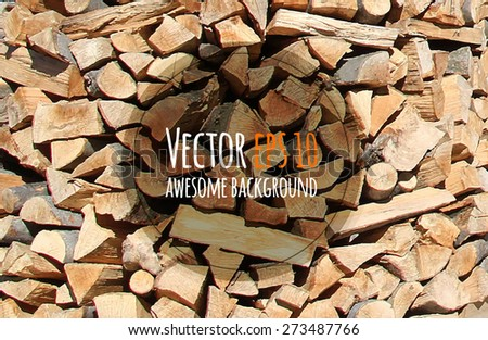 Vector firewood background. Chopped firewood on a stack - stock vector