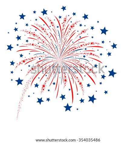 Vector firework design on white background - stock vector