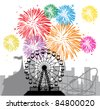 vector fireworks and silhouettes of a city and amusement park with circus, ferris wheel and roller-coaster - stock vector