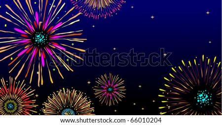 vector fireworks background with stars and lights - stock vector