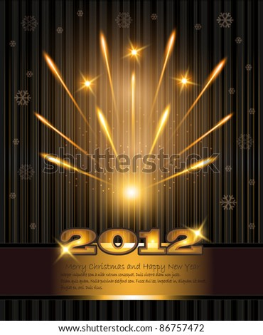 vector fireworks congratulations new year 2012 - stock vector