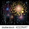 Vector fireworks in the sky - stock vector