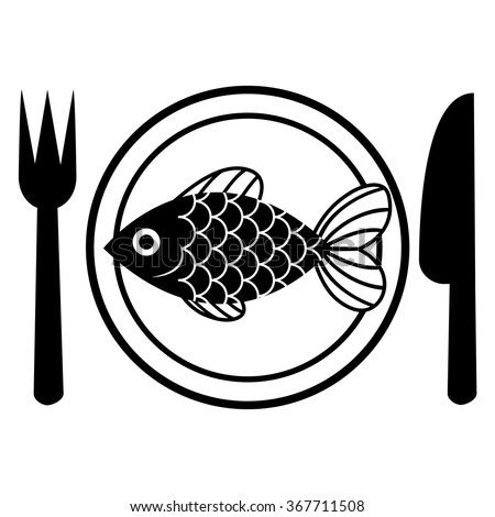 Vector fish on plate isolated on stock vector 367711508 for Comedor vector