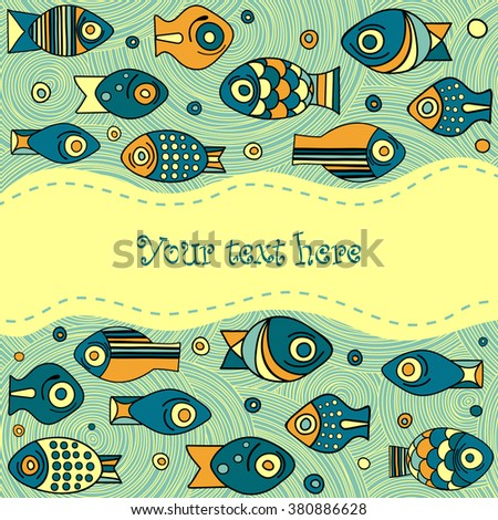 Vector Fish Pattern Sea Background With Tropical And Bubbles Set Of